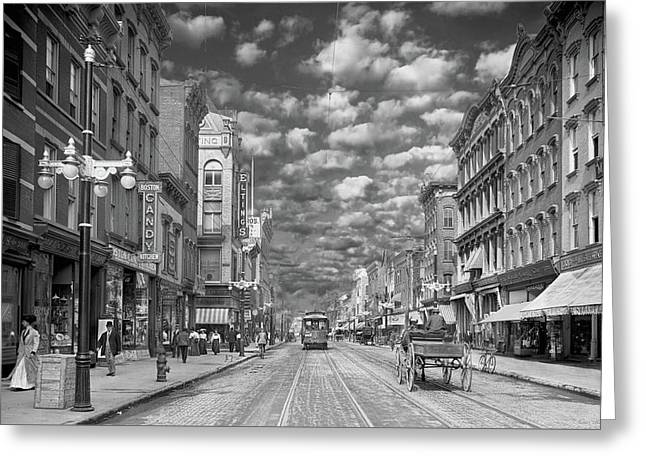Greeting Card featuring the photograph City - Ny - Main Street Poughkeepsie, Ny - 1906 - Black And White by Mike Savad