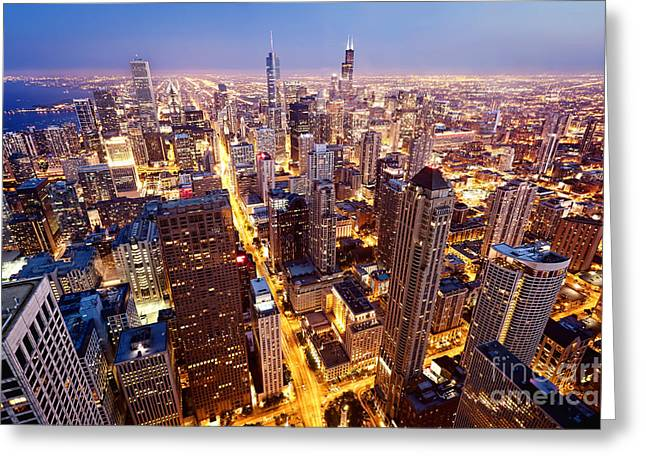 City Of Chicago. Aerial View  Of Greeting Card
