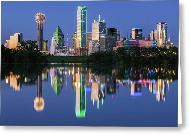 Greeting Card featuring the photograph City Of Dallas, Texas Reflection by Robert Bellomy