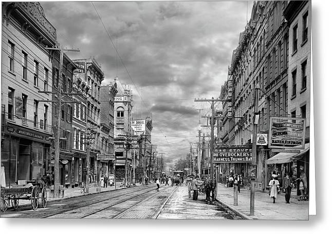 Greeting Card featuring the photograph City - Poughkeepsie Ny - The Ever Changing Market Place 1906 - Black And White by Mike Savad