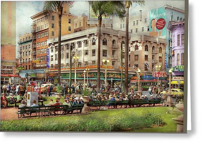 Greeting Card featuring the photograph City - San Diego Ca - A Busy Street Corner 1941 by Mike Savad