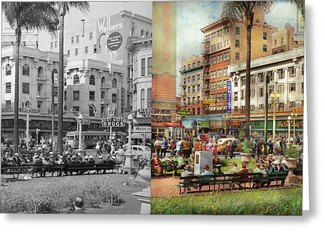 Greeting Card featuring the photograph City - San Diego Ca - A Busy Street Corner 1941 - Side By Side by Mike Savad