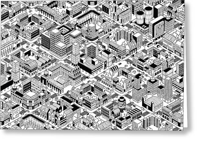 City Urban Blocks Seamless Pattern Greeting Card