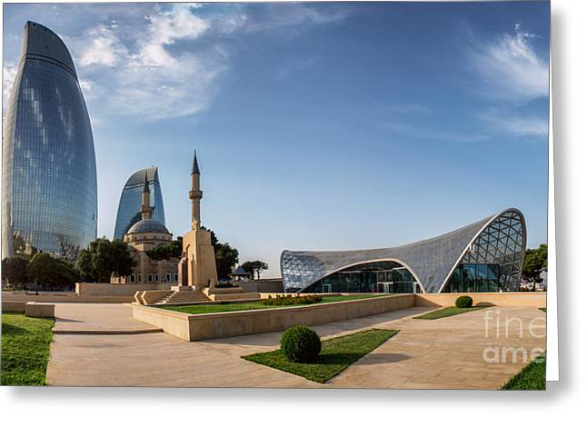 City View Of The Capital Of Azerbaijan Greeting Card