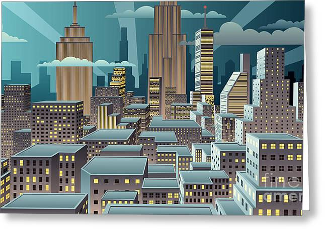 Cityscape At Night. Basic Linear Greeting Card
