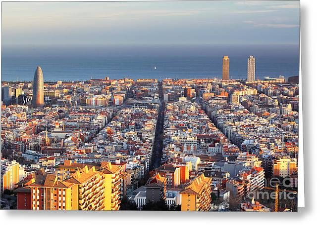 Cityscape Of Barcelona, Spain Greeting Card