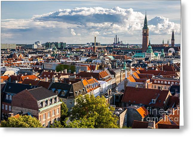 Cityscape Of Copenhagen From The Round Greeting Card