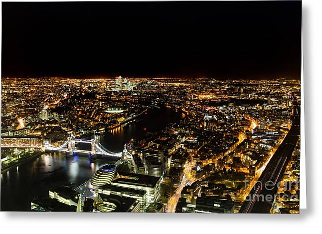 Cityscape Of London At Night Greeting Card