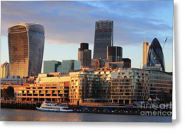 Cityscape Of London At Night, United Greeting Card