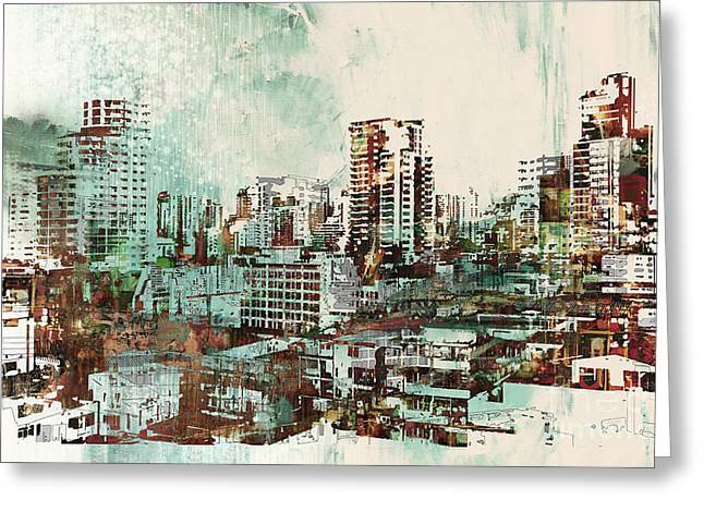 Cityscape With Abstract Greeting Card