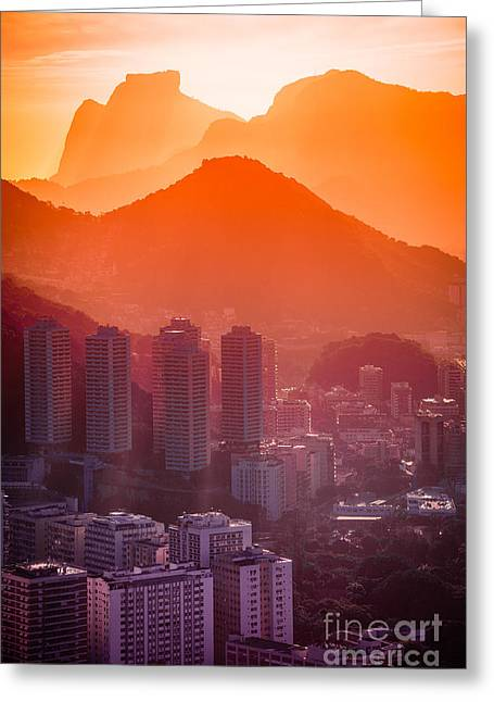 Cityscape With Mountain Range In The Greeting Card