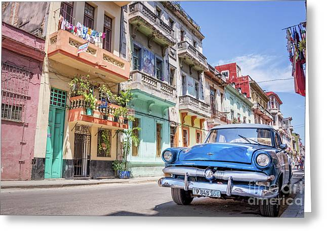 Classic Car In Havana, Cuba Greeting Card