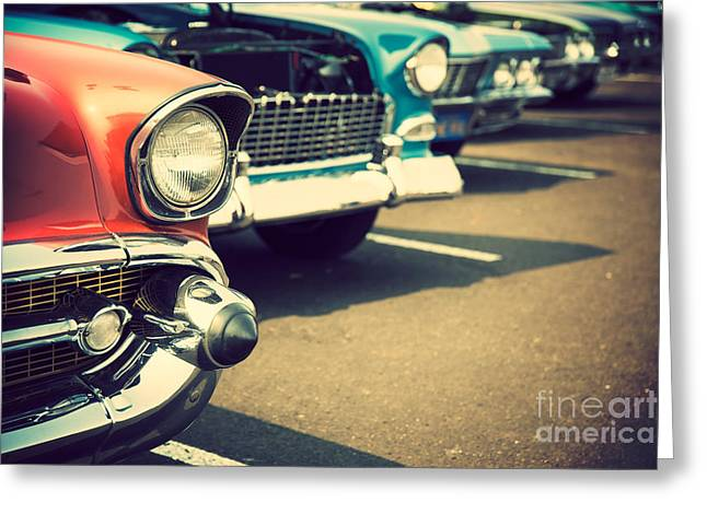Classic Cars In A Row Greeting Card by Topseller