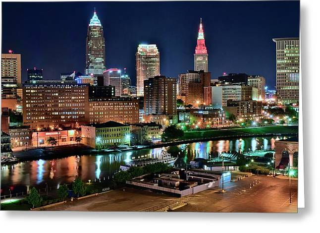 Cleveland Iconic Night Lights Greeting Card