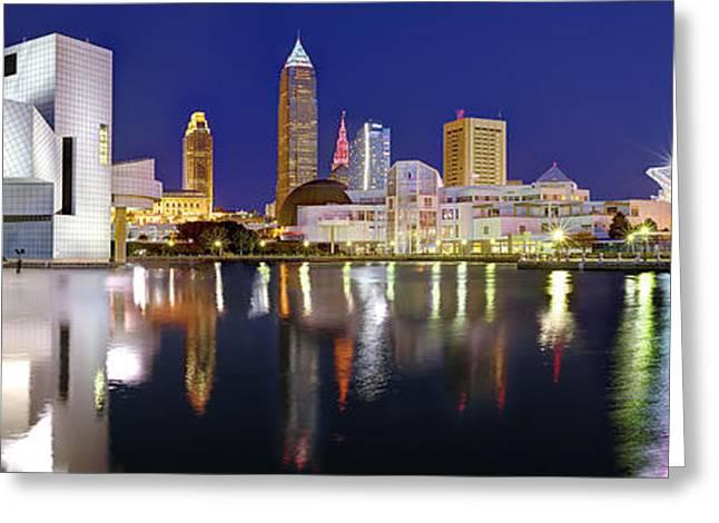Cleveland Skyline At Dusk Rock Roll Hall Fame Greeting Card
