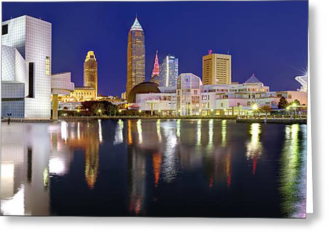 Cleveland Skyline At Dusk Rock Roll Hall Fame Greeting Card