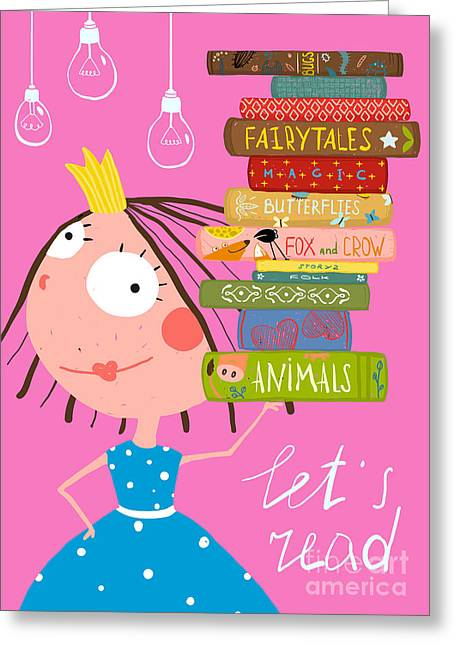 Clever Cute Little Girl Reading Books Greeting Card