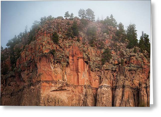 Greeting Card featuring the photograph Cliff Face Hz by Jeff Phillippi