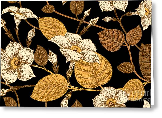 Climbing Plant Ivy. Seamless Floral Greeting Card