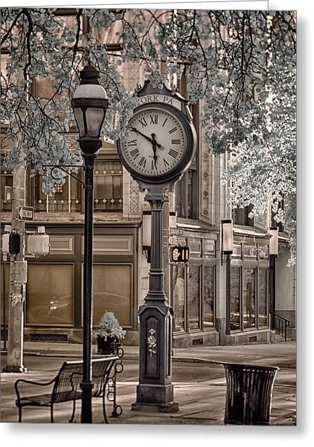 Clock On Street Greeting Card