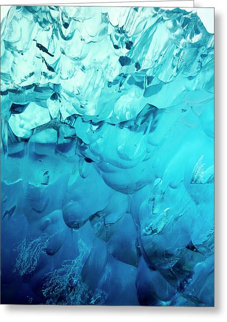 Close-up Of Blue Ice In An Iceberg Greeting Card by Stuart Westmorland