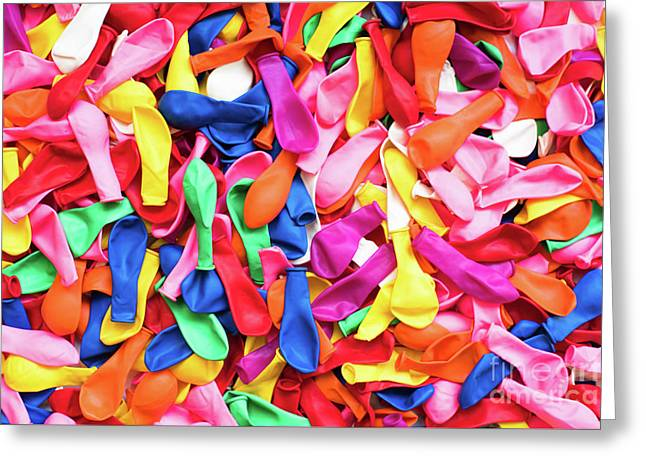 Close-up Of Many Colorful Children's Balloons, Background For Mo Greeting Card