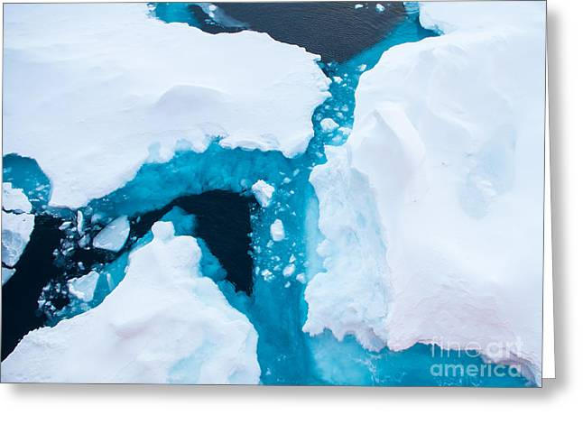 Close Up Photo Of Beautiful Blue Ice In Greeting Card