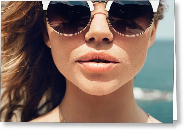 Closeup Fashion Summer Portrait Of Greeting Card
