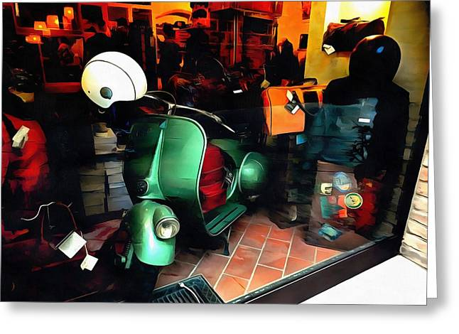 Greeting Card featuring the photograph Clothing Shop With Vespa Pienza by Dorothy Berry-Lound