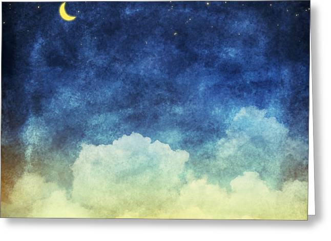 Cloud And Sky At Night ,yellow And Blue Greeting Card