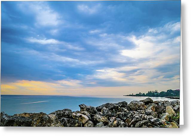Cloudy City Coastline Greeting Card