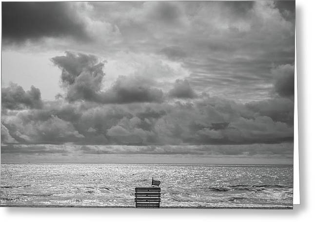 Cloudy Morning Rough Waves Greeting Card