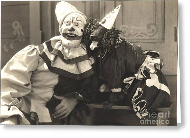 Clown Posing With Dog Dressed In Clown Greeting Card