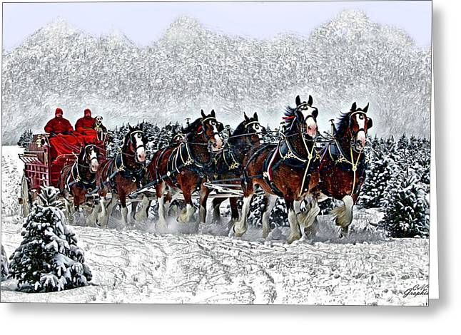Clydesdales Hitch In Snow Greeting Card
