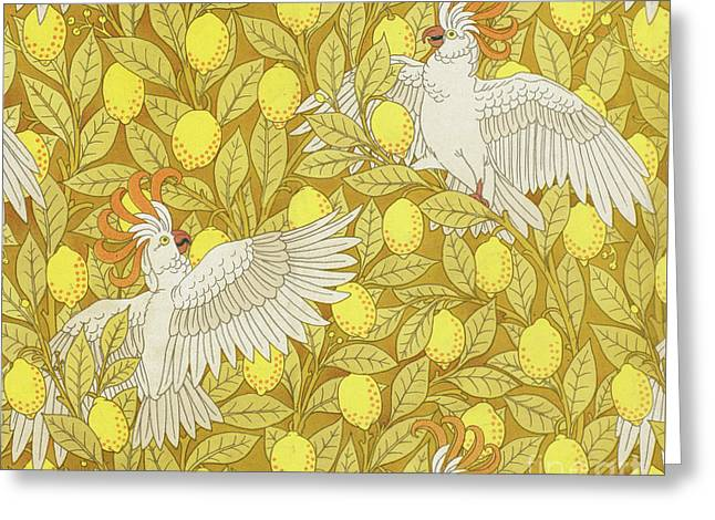 Cockatoos With Lemons Greeting Card