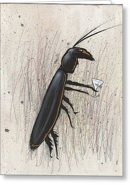 Cockroach With Martini Greeting Card