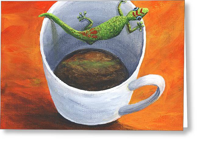 Greeting Card featuring the painting Coffee With A Friend by Darice Machel McGuire
