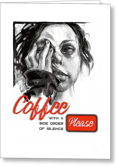 Greeting Card featuring the mixed media Coffee With A Side by Lora Serra