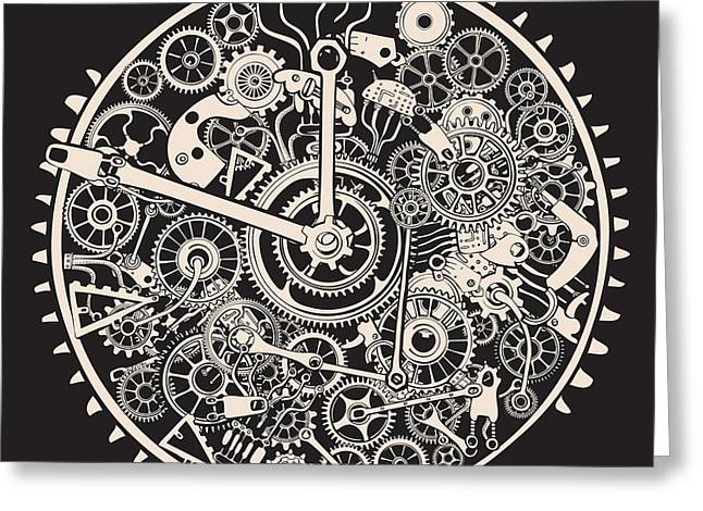 Cogs And Gears Of Clock Greeting Card
