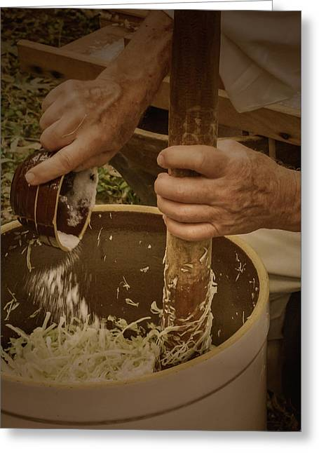 Greeting Card featuring the photograph Coleslaw Maker by Guy Whiteley
