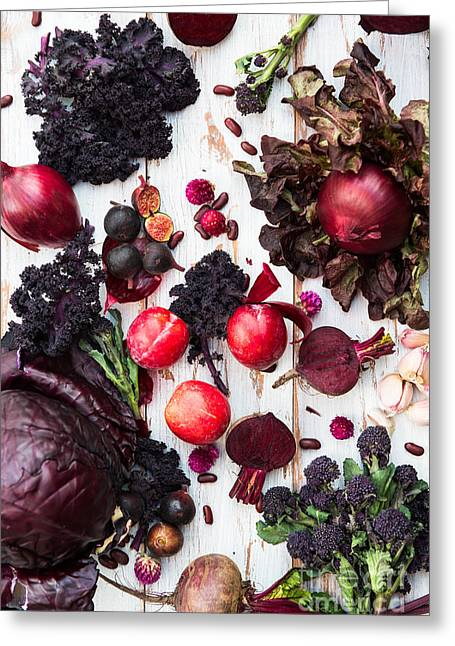 Collection Of Fresh Purple Fruits And Greeting Card