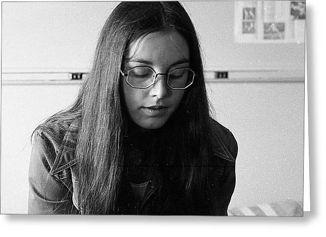 College Student With Octagonal Eyeglasses, 1972 Greeting Card