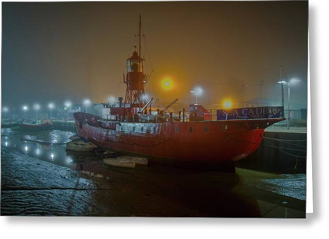 Greeting Card featuring the photograph Colne Lightship In The Fog by Gary Eason