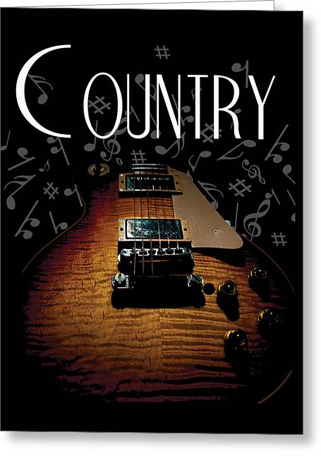 Color Country Music Guitar Notes Greeting Card