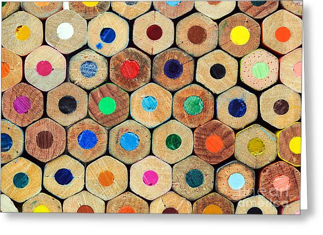 Colored Crayons Back Texture Greeting Card