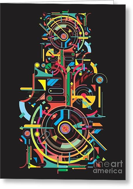Colorful Abstract Tech Shapes On Black Greeting Card