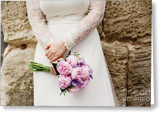 Colorful Bridal Bouquets With Flowers Greeting Card