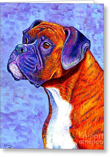 Colorful Brindle Boxer Dog Greeting Card