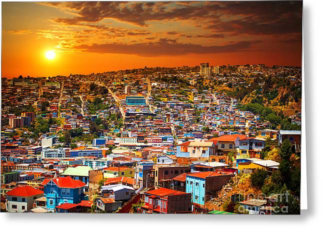 Colorful Buildings On The Hills Of The Greeting Card