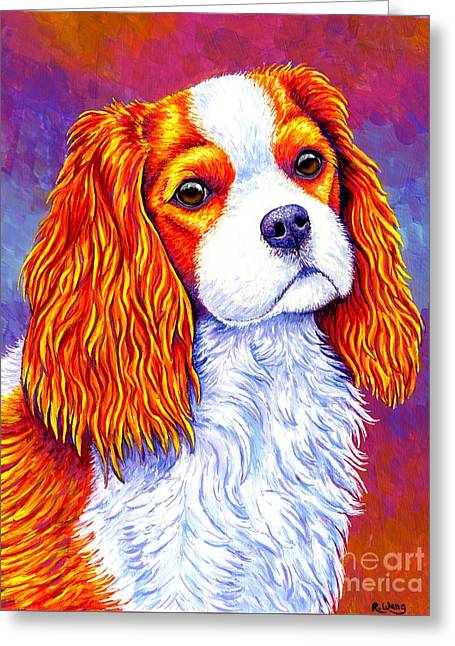 Colorful Cavalier King Charles Spaniel Dog Greeting Card